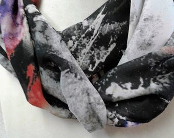"Sllk chiffon infinity scarf, backgroun of grey and blue, abstract, 60"" x 14. Italian fabric, silk chiffon"