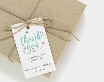 Thank You Tags   Printable thank you tags, favor tags, wedding card template, printable wedding party tag, favor tag, thank you card CA-01