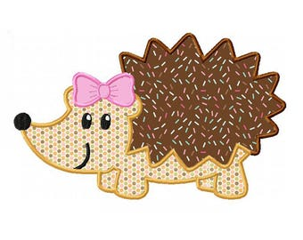 Hedgehog Girl Applique and Machine Embroidery Digital Download