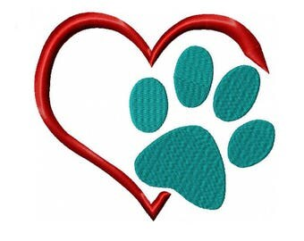 Dog Paw in Heart Machine Embroidery Digital Download