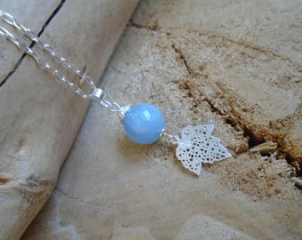 Aquamarine necklace and Sterling Silver / Spring leaves