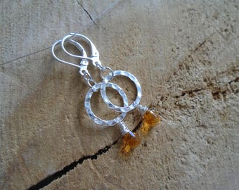 Citrine on Sterling Silver earrings / / minimalist earrings