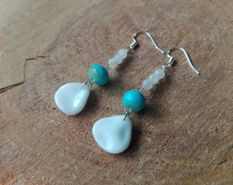 Moonstone and Czech glass earrings / / Turquoise picasso & Moonstone