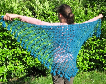 Hand knitted wool and mohair shawl