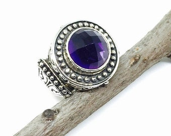 10% Amethyst ring set in sterling silver 925. Authentic genuine natural 12mm round checkerboard cut amethyst stone. Size -7