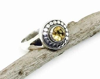 10% Citrine Ring set in sterling silver (925). Genuine natural stone. Size 5 , 9. November birthstone
