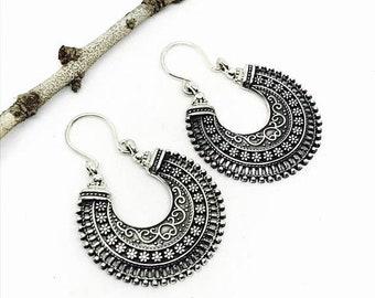 10% Tribal, ethnic, bohemian Sterling silver 925 hoop earrings. Detailed silver work. Better then picture.