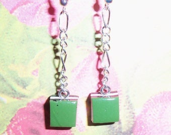 Gourmet licorice green square earrings