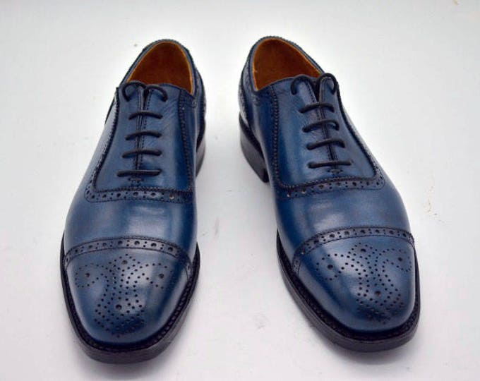 Handmade Goodyear welted Men's Oxford Shoes,Blue Leather