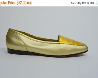 SALE Golden | 7 | 1980s Vintage Two Tone Gold Leather Slip On Flats 80s Minimalist Loafers