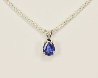 Blue Sapphire in Sterling Silver Pendant