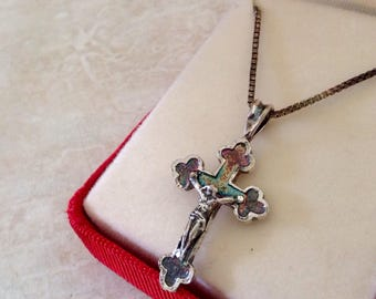 Vintage Sterling Silver Crucifix/Cross Necklace with Rainbow Sheen