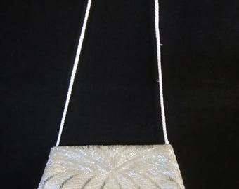 Bridal Shoulder Bag- handmade, white satin with silver-tone bugle & seed beads. Elegant art-deco design, zipper closure. Keepsake for her!