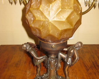 Vintage 1930's Art Deco/Frank Art style figural lamp with geometrical shade