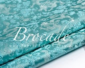 Turquoise Brocade Dragon Fabric by the yard