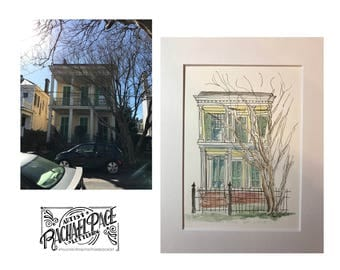 Custom Watercolor Painting Illustration of your Home