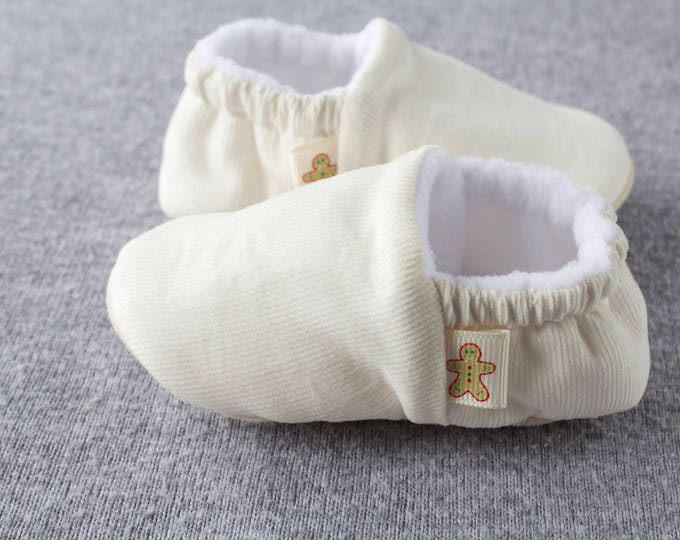 Ivory Corduroy  baby moccs unisex. for pre walkers and toddlers