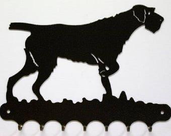 Hangs 26 cm pattern metal keys: dog drahthaar or korthals