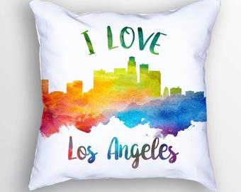 Los Angeles Pillow, Los Angeles Skyline, Los Angeles Cityscape, 18x18, Cushion, Home Decor, Gift Idea, Pillow Case, USCALA23PI