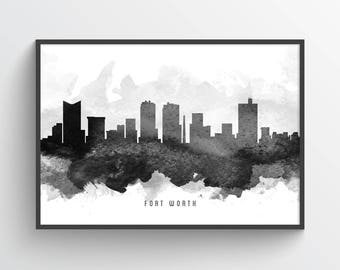 Fort Worth Skyline Poster, Fort Worth Cityscape, Fort Worth Print, Fort Worth Art, Fort Worth Decor, Home Decor, Gift Idea, USTXFW11P