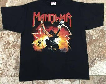 Vtg 90s MANOWAR Triumph of Steel XL T-Shirt