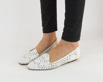 White Loafers | Vintage Cut out Perforated Leather Flat Shoes | Slip on Shoes, Flats, Sandals | Women size 7 1/2 | Summer Fashion