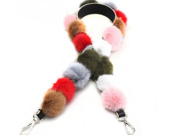 real leather & Fox fur Bag Straps 105cm * 4cm Removable Purse Strap Interchangeable Strap Replacement Handle Chain WD005