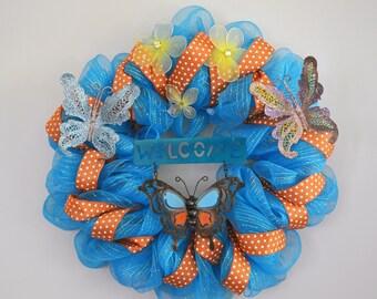 Butterfly Deco Mesh Wreath with Lights, Front Door Wreath, Summer Wreath