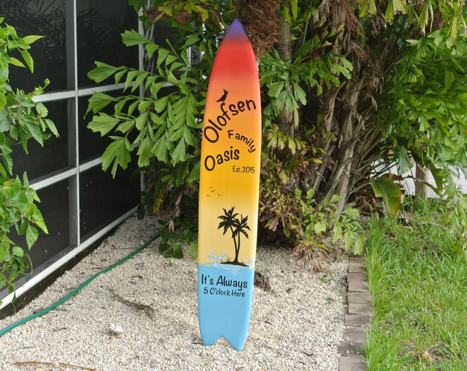 Tiki bar Decor. Family Oasis wood sign. Beach House wooden gift. Its 5 O'clock somewhere.