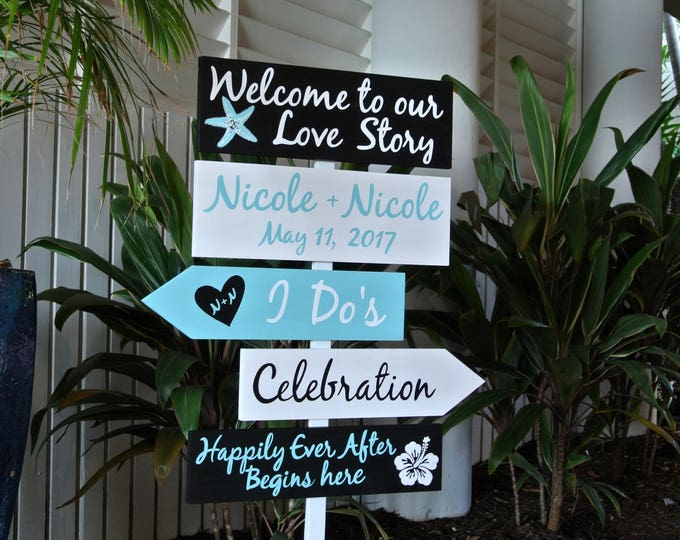 Nautical Welcome Wedding Sign, Welcome to our Love Story Signage, I Do's Directional sign, Happily Ever After Begins Here Flower sign