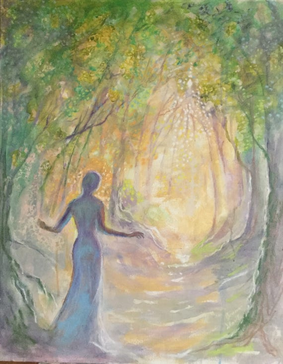 """Original Painting """"Stepping toward the Light"""" 24 by 30 inch woodland woman figure gold gray"""
