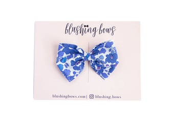 The Bobby, Hand Tied Fabric Bows, Baby Girl, Toddler, Girls Fabric Bow Headband or Hair Clip