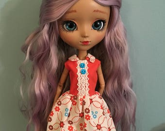 Orange Blue Colorful Flower Fall Pullip doll dress
