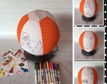 Colour Me, Balloon Ball Cover, Handmade, Fabric, Sensory Toy, Kids Ball, Colouring In, CONSTRUCTION