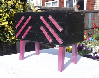Vintage 1970's freestanding folding accordion sewing box, painted in black and purple with glittered finish