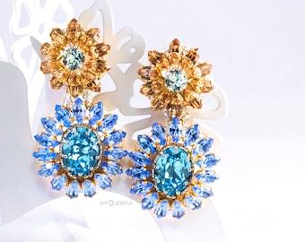 "Earrings ""Anahita"" made with Swarovski ® elements in blue Gold aqua marine Filigree Flowers"