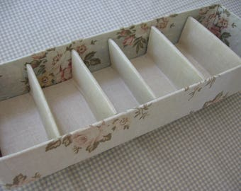 Vintage Dresser Box Dream House Closet Accessories by Jayhawk Fabric-Covered Divided Storage Box, Gray-Beige with Soft Pink Roses - 1950's