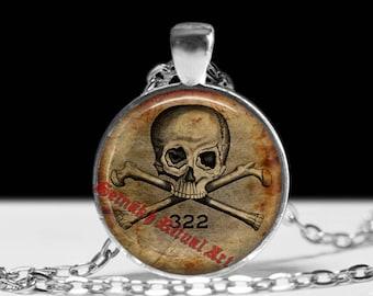 Masonic skull pendant, Freemasons amulet, Freemasonry jewelry, esoteric jewellery, death amulet, Illuminati symbol, Skull and Bones  #10