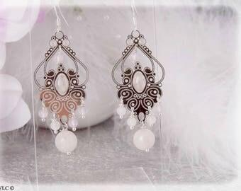Earrings ethnic 925 sterling silver rose quartz