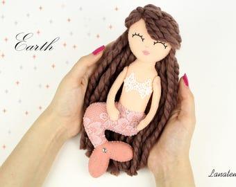 "Marmaid doll, OOAK handmade, ""Four elements mermaid"", Earth, handmade mermaid, collecting doll, for she, mermaid lover, felt handmade doll"