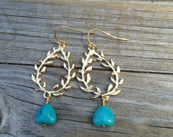 Gold Leaf Howlite Turquoise earrings, Turquoise earrings, Dangle earrings, Gifts for her, Stocking Stuffer