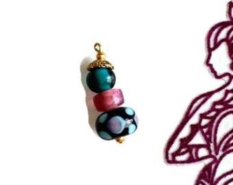 Pendant / ethnic handmade glass clay charm