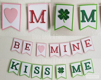 Reversible Be Mine Kiss Me Glitter Banner Photo Prop