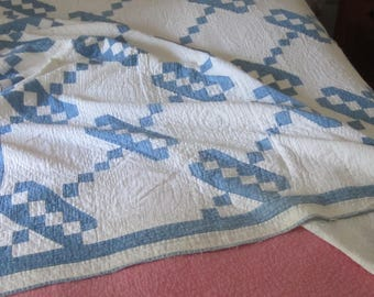 Pretty and Cozy Antique Vintage Blue and White Jacobs Ladder Quilt 52X83""