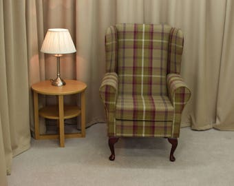 Small Westoe Armchair in a Balmoral Heather Tartan Fabric with Mahogany Legs - NEW