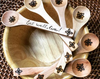 Custom Baby Spoon, toddler spoon, woodburned spoon, bamboo spoon, baby's first spoon, eco friendly, non toxic, bamboo, reusable