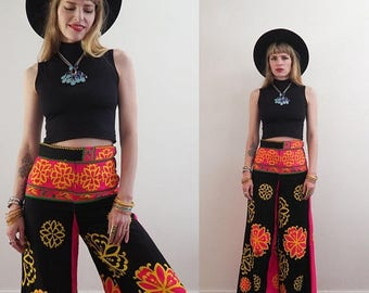 MID SUMMER SALE vintage 60's lotus & dragon wide leg bell bottom pants // high waisted // 60's day-glow flower power psychedelic boho hippie