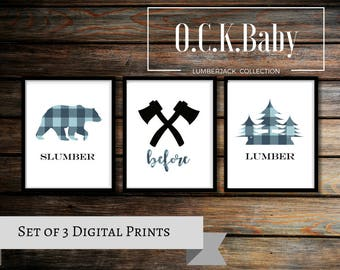 Lumberjack Nursery Art, Lumberjack Printable Art, Lumberjack Nursery Wall Art, Plaid Wall Art, Lumberjack Nursery, Digital Download Wall Art