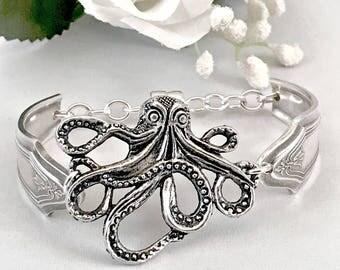 Steampunk Octopus Bracelet Inspirational Her Spoon Bracelet Modernist Jewelry Vintage Silverware Jewelry Animal Lover Jewelry Gift For Women