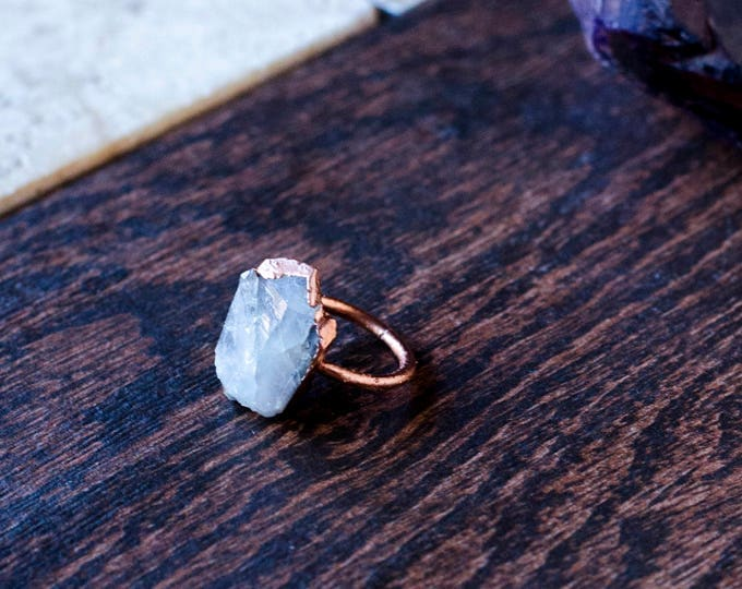 Raw Clear Quartz and Copper Ring Size 8